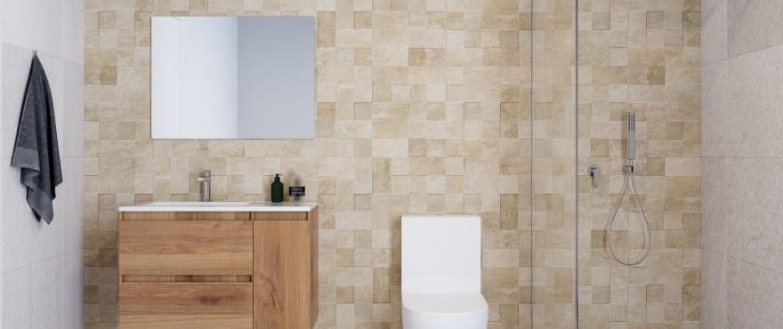 Moderne en complete badkamer in Iconic, met geïnstalleerde schermen