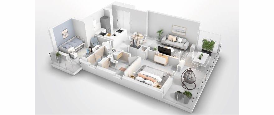 Compass Cala d'Or, plattegrond appartement met 2 slaapkamers