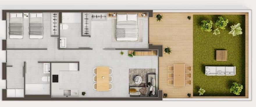 Iconic, Gran Alacant, Grundriss eines 2-Schlafzimmer-Apartments
