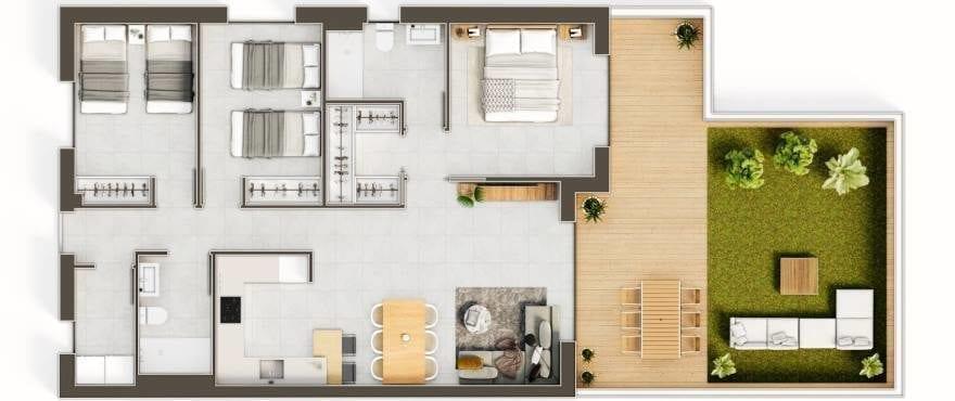 Iconic, Gran Alacant, Grundriss eines 3-Schlafzimmer-Apartments