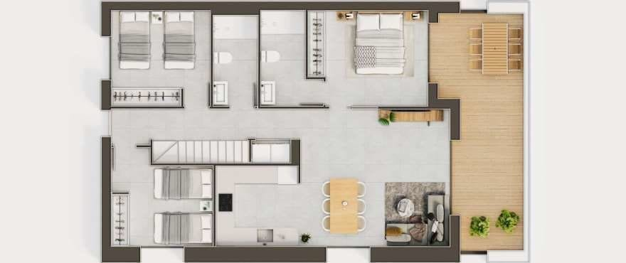 Iconic, Gran Alacant, plan of the 3 bedroom penthouse