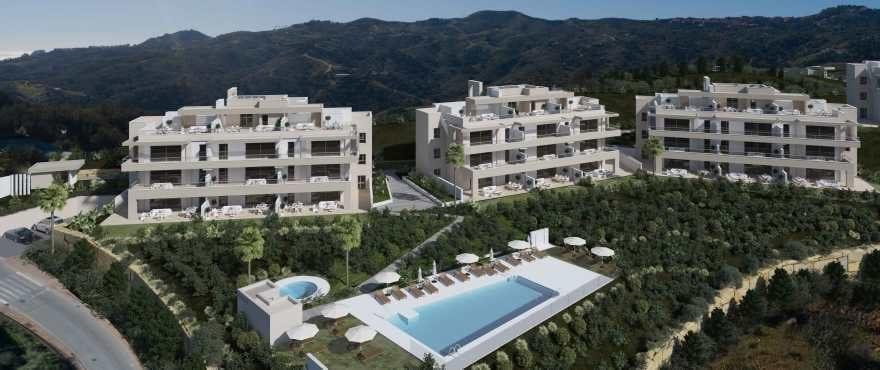 Privéwoonwijk met 56 appartementen met 2 en 3 slaapkamers in het prestigieuze wooncomplex La Cala Resort, in Mijas. Rechtstreekse verkoop bij de projectontwikkelaar