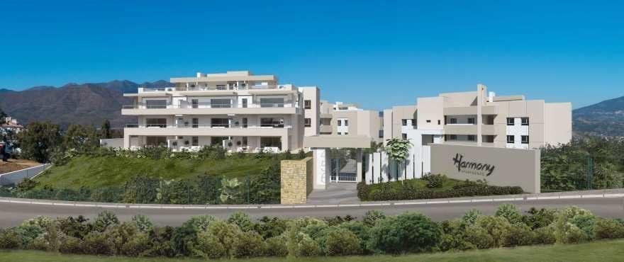 Panoramautsikt från de nya bostäderna Harmony, Mijas, Costa del Sol