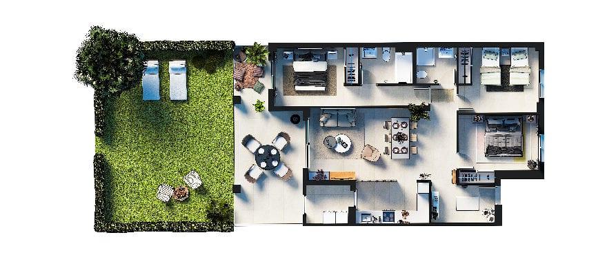 Plan 3-bed ground floor apartment