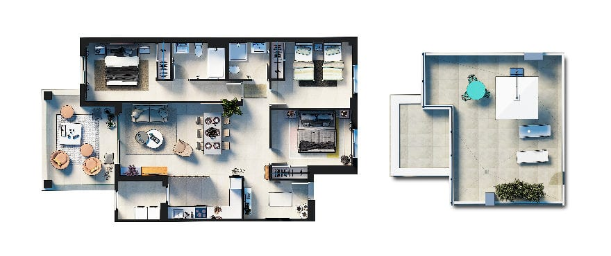 Plan 3-bed apartment + solarium