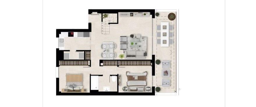 Harmony, plattegrond 2 slaapkamers. Eerste verdieping