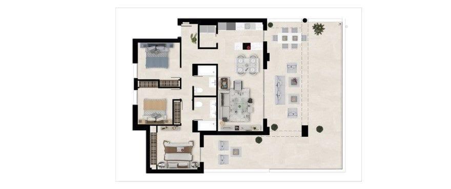 Harmony, plattegrond 3 slaapkamers. Gelijkvloers