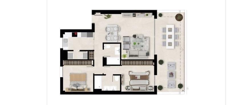Harmony, plattegrond 2 slaapkamers, dakappartement