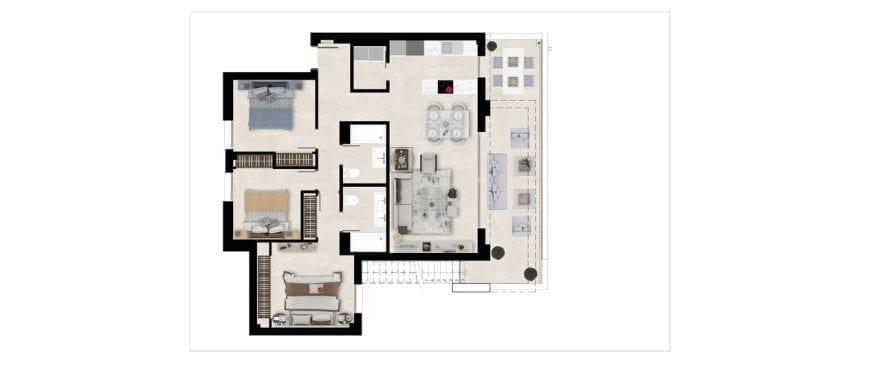 Harmony, plattegrond 3 slaapkamers, dakappartement