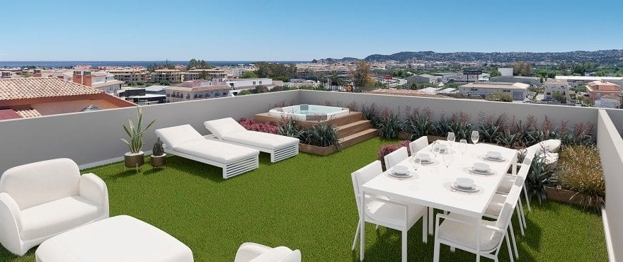 Sea views from the spacious terrace belonging to the penthouses at Essential