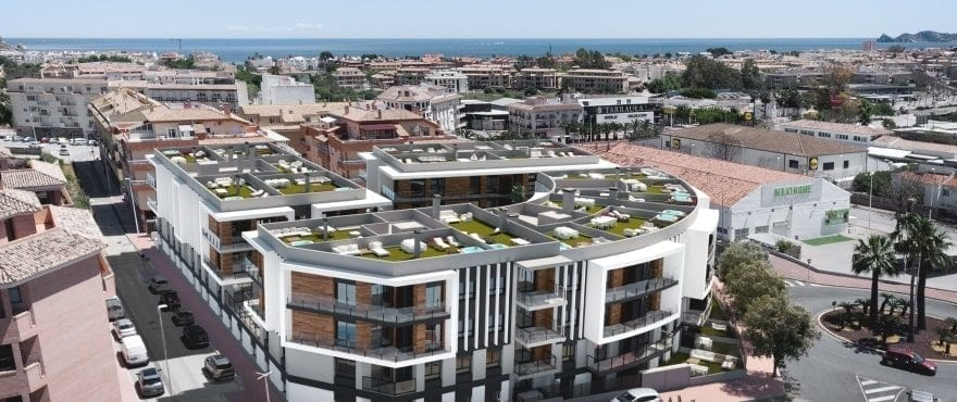 Essential New 2 and 3-bed apartments for sale in Javea, Alicante, Costa Blanca, with every service available.