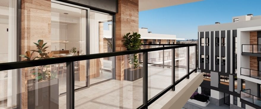 Large terrace at the new Essential residential in Jávea