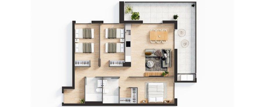 Plano del nuevo apartamento Essential de 3 dormitorios