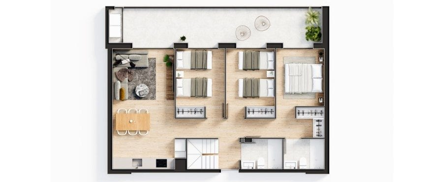 Plan of the new Essential 3 bedroom penthouse