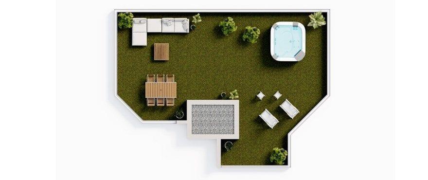 Plan of the new Essential 3 bedroom penthouse, solarium