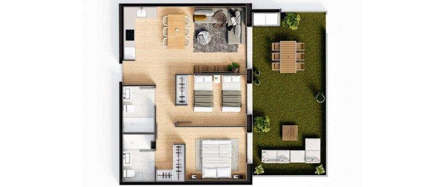 Plano del nuevo apartamento Essential de 2 dormitorios