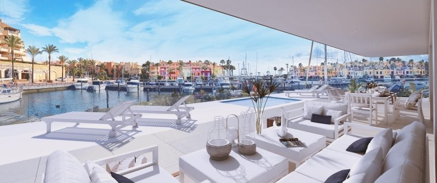 Pier, large terrace with panoramic views of La Marina de Sotogrande. East facing.