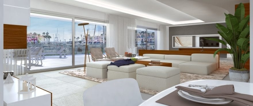 Pier 1, Large living room at the new apartments for sale in La Marina Sotogrande