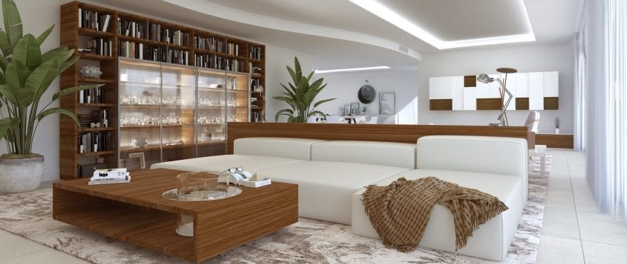 Pier, Large living room at the new apartments for sale in La Marina Sotogrande