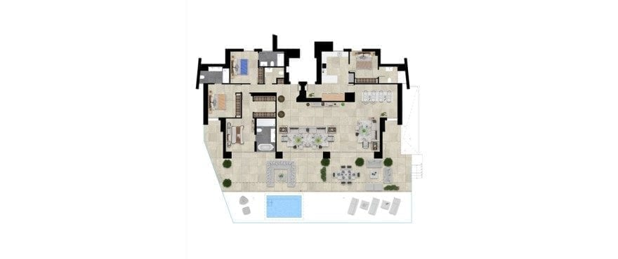 Pier 1, plan 4 bedrooms, Groundfloor