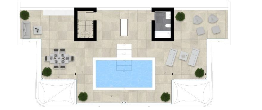 Pier 1, plan 4 bedrooms, Penthouse solarium