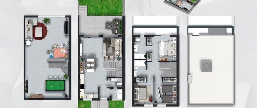 Townhouses in Elche, Alicante: Floor plan: 3 bedrooms, 2 bathrooms, toilet, terrace, garden and garage