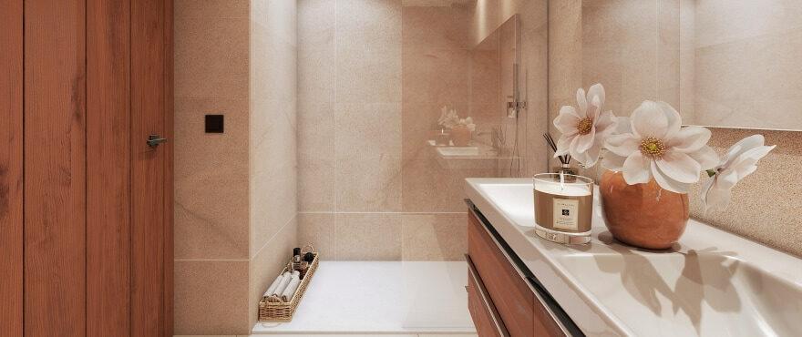 Marbella Lake, modern full bathroom with shower screen installed