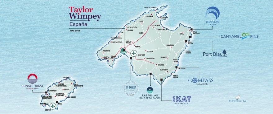 Områdeskarta över bostäderna av Taylor Wimpey España i Mallorca-Ibiza