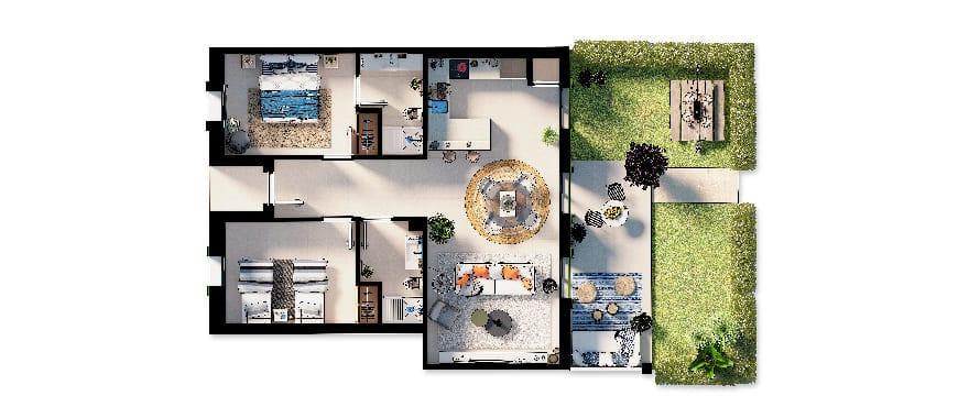 Ikat, plano apartamento de 2 dormitorios