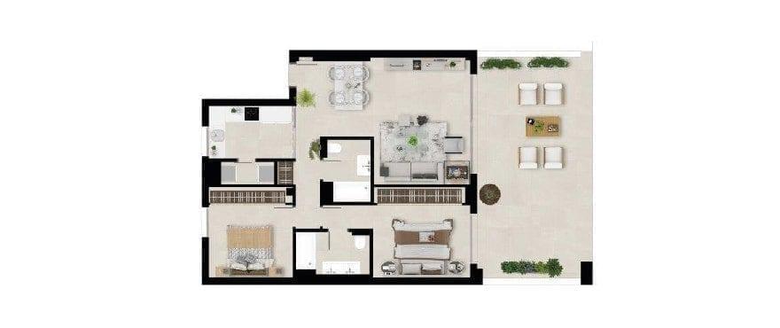 Marbella Lake, plan 2 bedrooms. Groundfloor