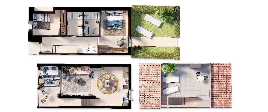 Ikat, plano duplex 2 dormitorios