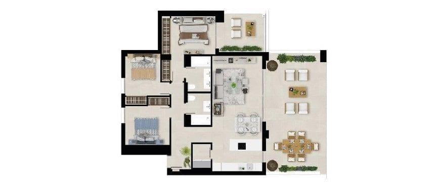 Marbella Lake, plan 3 bedrooms. Groundfloor