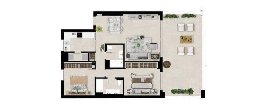 Marbella Lake, plan 2 bedrooms, first flooor