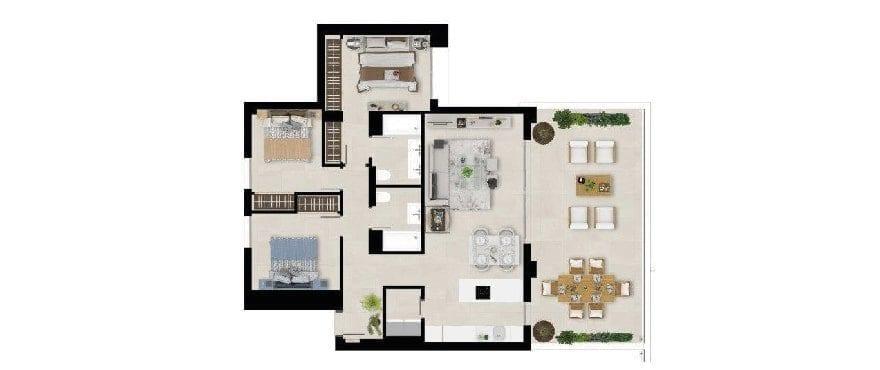 Marbella Lake, plan 3 bedrooms, first floor