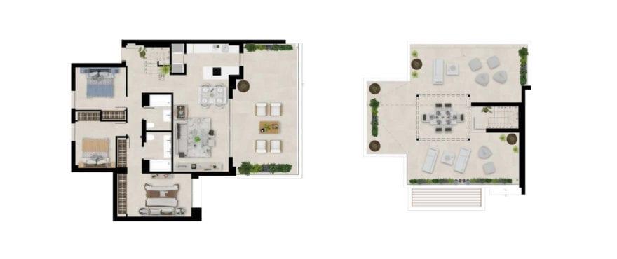 Marbella Lake, plan 3 bedrooms, penthouse