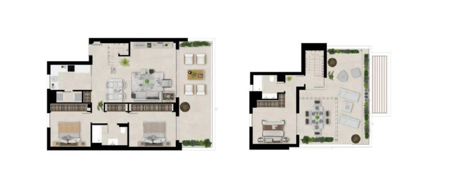 Marbella Lake, plan 3 bedrooms, duplex