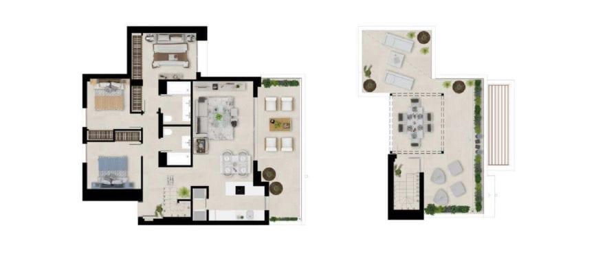 Marbella Lake: plano 3 dormitorios. Ático