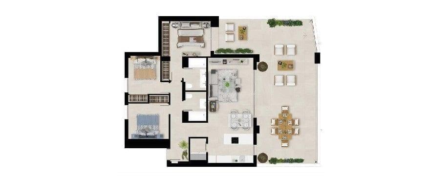 Marbella Lake, plan 3 bedrooms, groundfloor