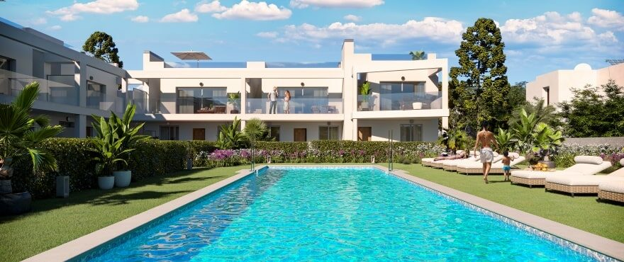 New townhouses with communal pool in the Bay of Palma