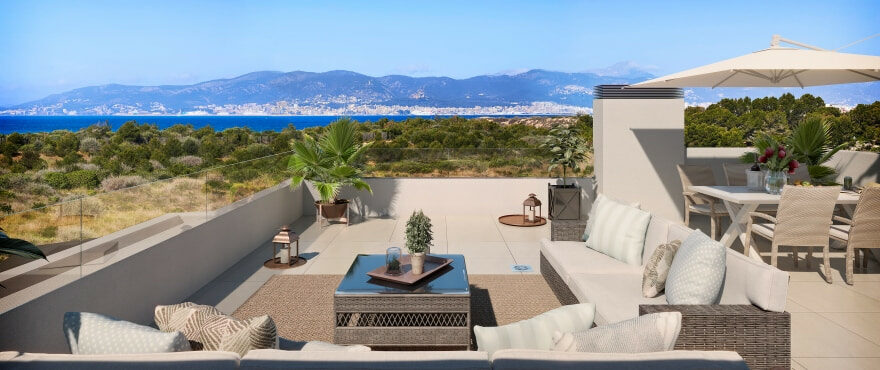 New townhouses with solarium with views in Cala Estancia, Mallorca