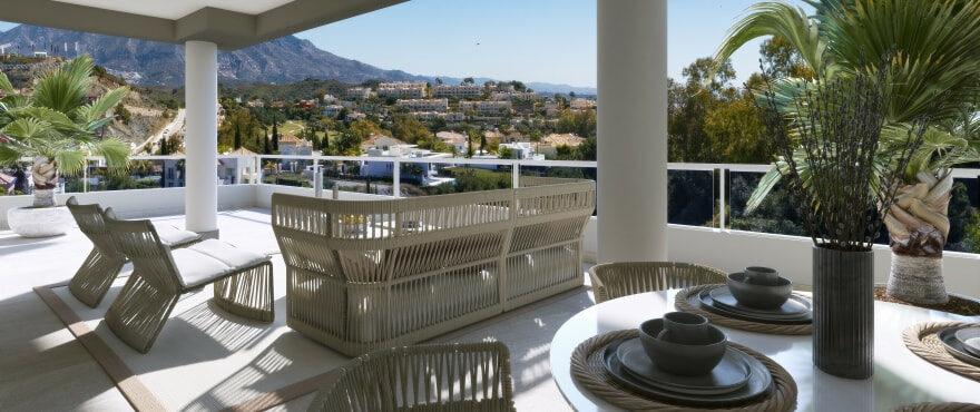 Terras van penthouse in The Crest met spectaculair uitzicht
