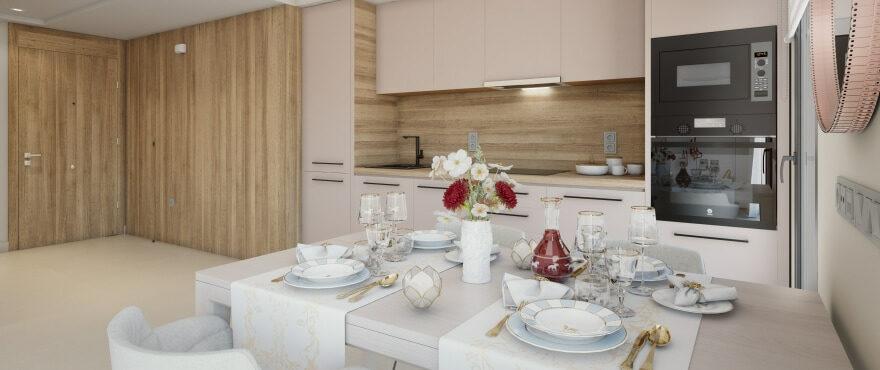 Heerlijk lichte eetkamer en open keuken in de nieuwe woningen in The Crest