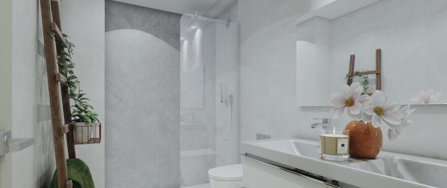 Moderne badkamer in koopappartementen in The Crest