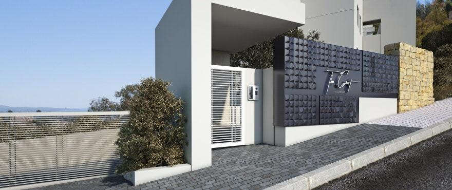 Ingang van appartementen The Crest, in The Westin La Quinta Golf, Benahavis
