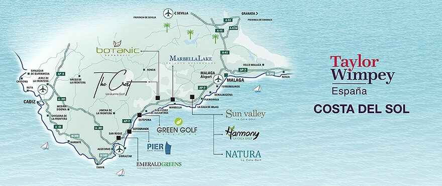 Map New properties for sale on Costa del Sol