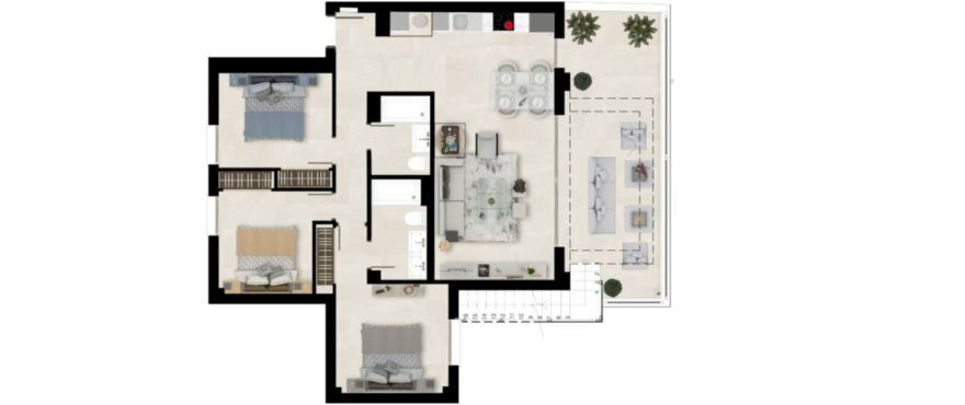 Plattegrond van appartement type A met 3 slaapkamers en 2 badkamers. Penthouse