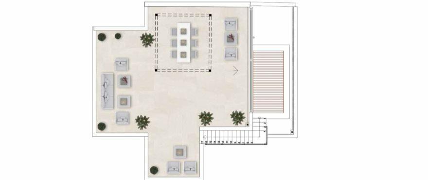 Plattegrond van appartement type A met 3 slaapkamers en 2 badkamers. Penthouse .Solarium
