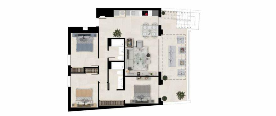 Plattegrond van appartement type B met 3 slaapkamers en 2 badkamers. Begane grond