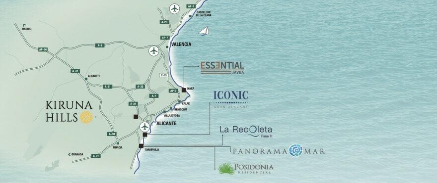 Mapa situacional de las vivientas Taylor Wimpey España en Costa Blanca