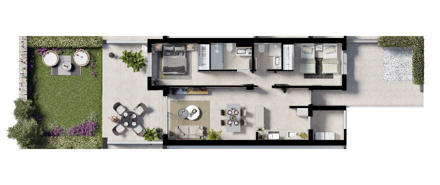 Plan 2-bed ground floor apartment